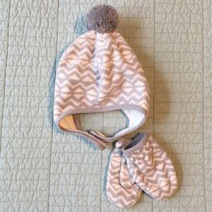 Toddler Fleece Snow Cap and Mitten set
